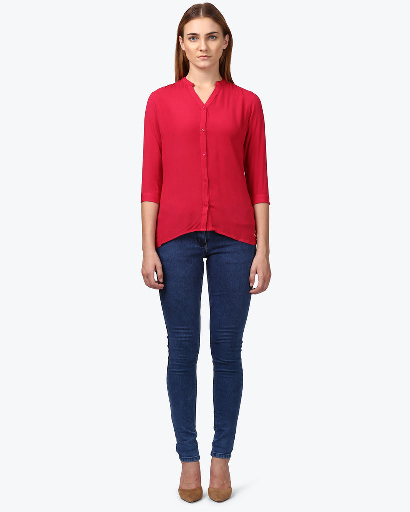 Park Avenue Woman Red Regular Fit Top