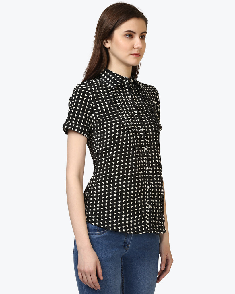 Park Avenue Black Regular Fit Top