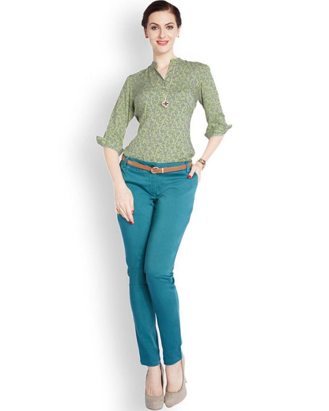Park Avenue Medium Green Regular Fit Top