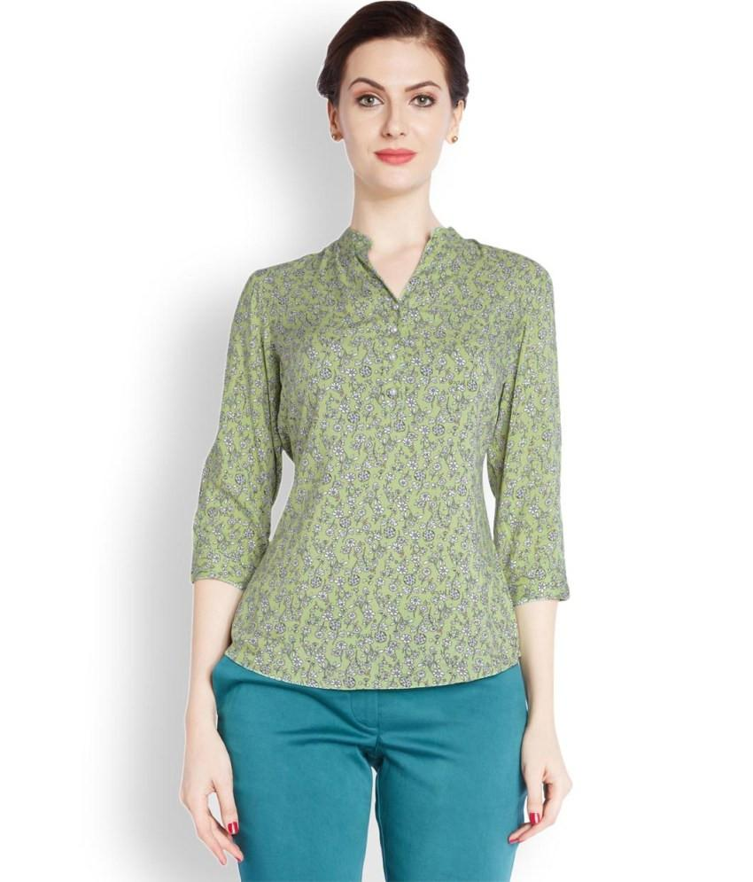 Park Avenue Woman  Green Regular Fit Top