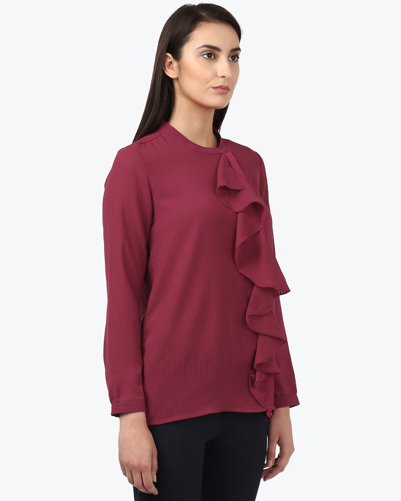 Park Avenue Woman Red Regular Fit Tops
