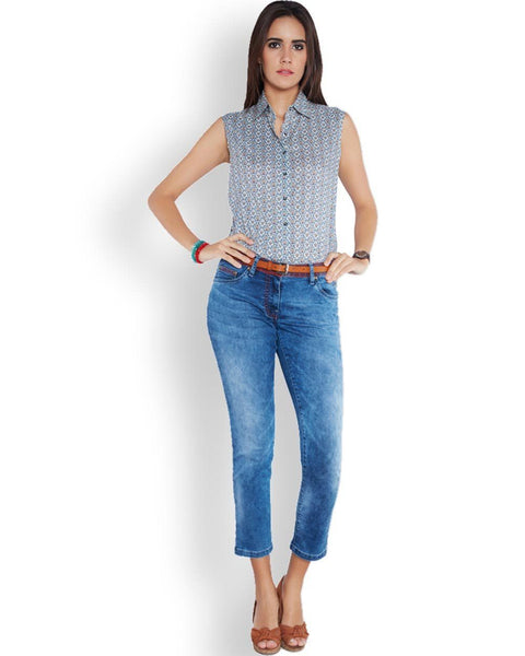 Park Avenue Woman Blue Regular Fit Top