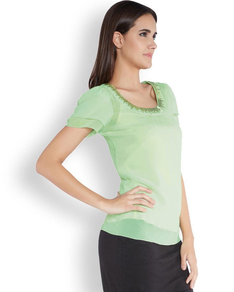 Park Avenue Woman Light Green Regular Fit Top