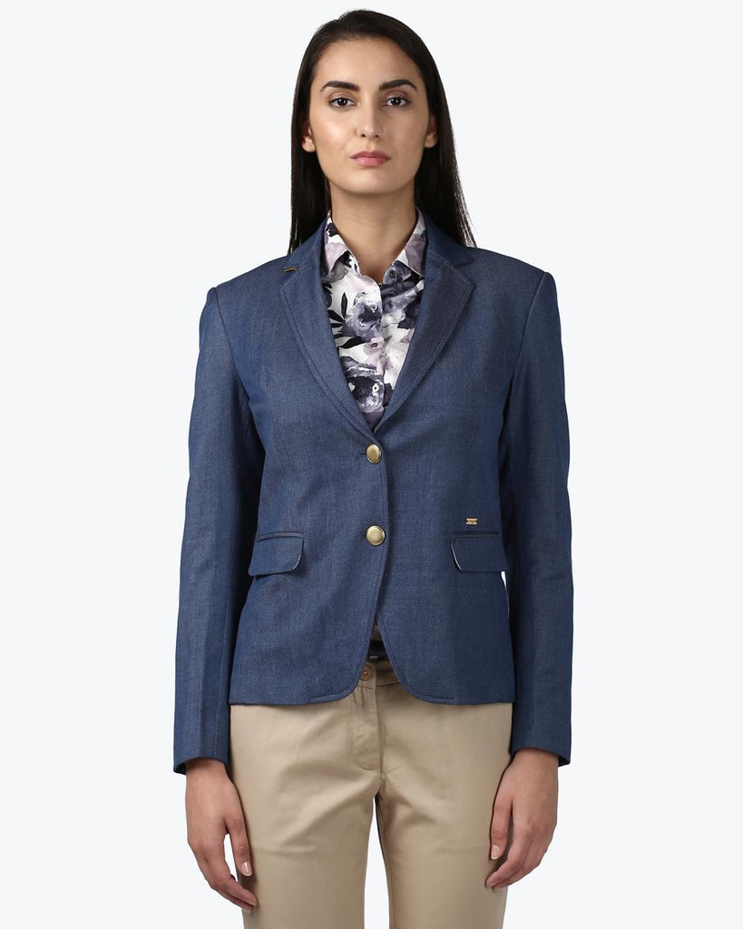 Park Avenue Woman Dark Blue Regular Fit Jacket