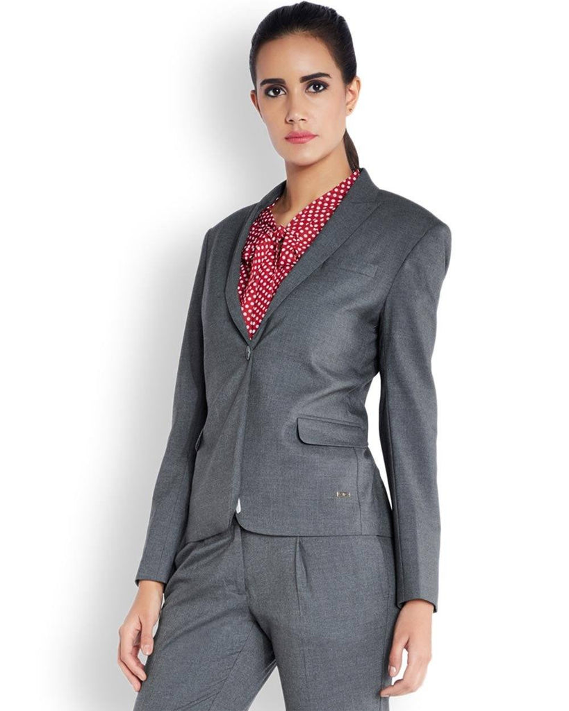 Park Avenue Woman Grey Regular Fit Jacket