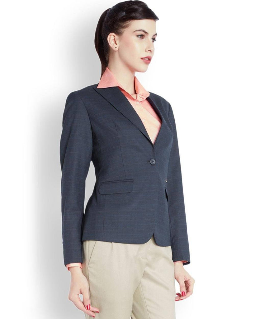 Park Avenue Woman Blue Regular Fit Jacket