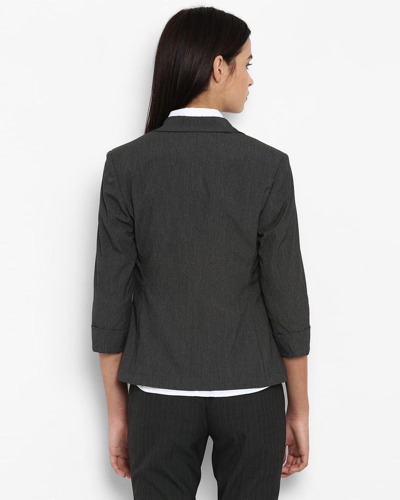Park Avenue Woman Grey Regular Fit Blazer