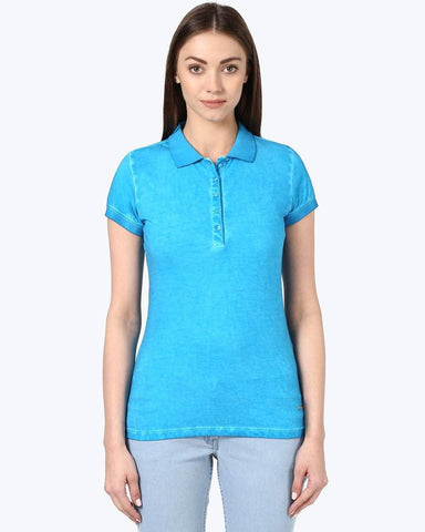 Park Avenue Woman Blue Regular Fit T-Shirt