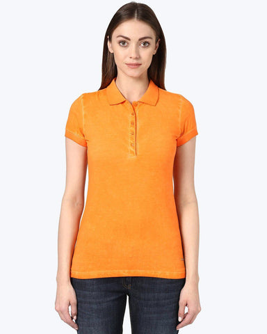 Park Avenue Woman Orange Regular Fit T-Shirt