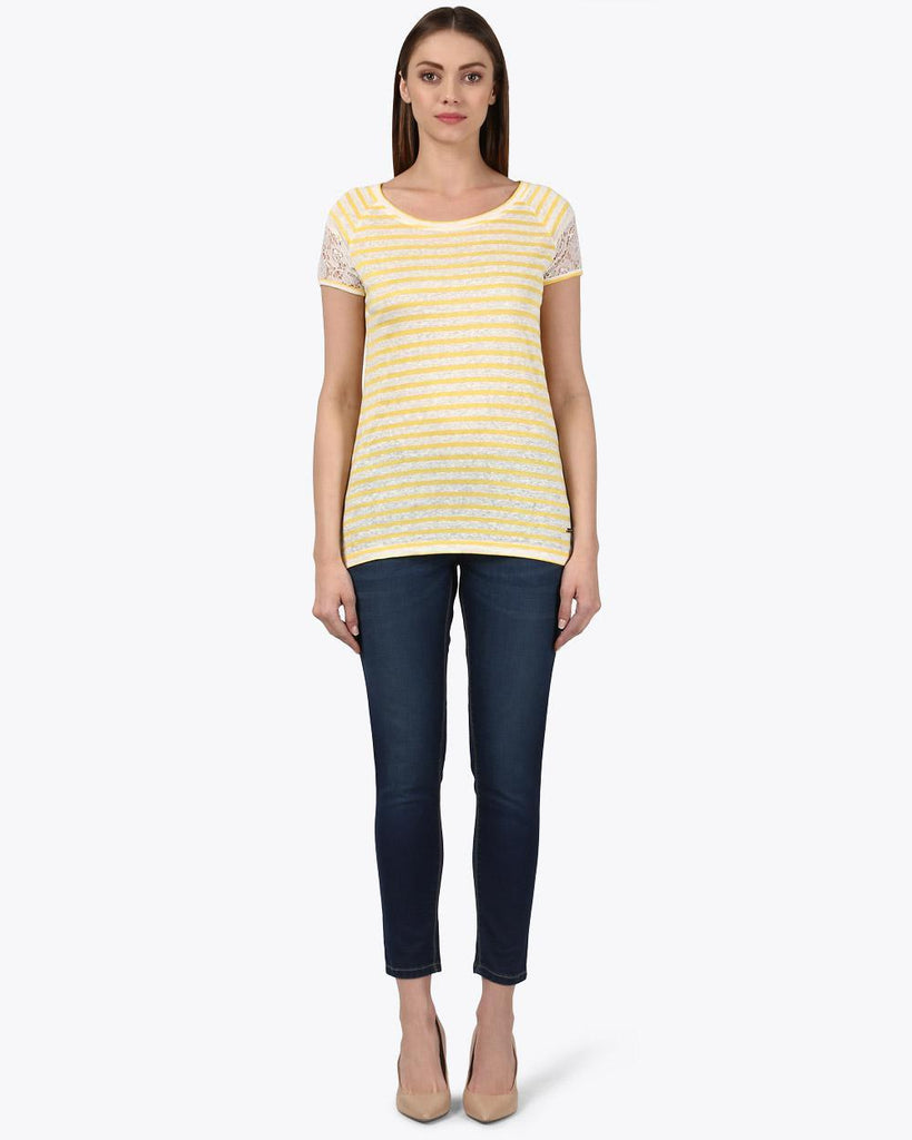 Park Avenue Woman Yellow Regular Fit T-Shirt
