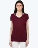 Park Avenue Woman Dark Violet Regular Fit T-Shirt