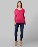 Park Avenue Woman Medium Red Regular Fit T-Shirt