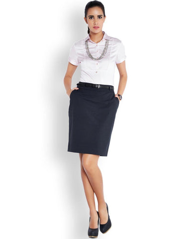 Park Avenue Woman Blue Regular Fit Skirt
