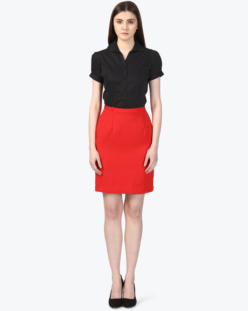 Park Avenue Red Regular Fit Skirts