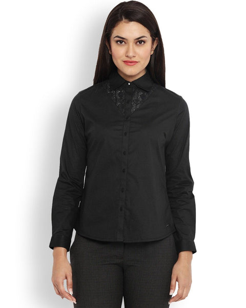 Park Avenue Black Regular Fit Woman Shirt
