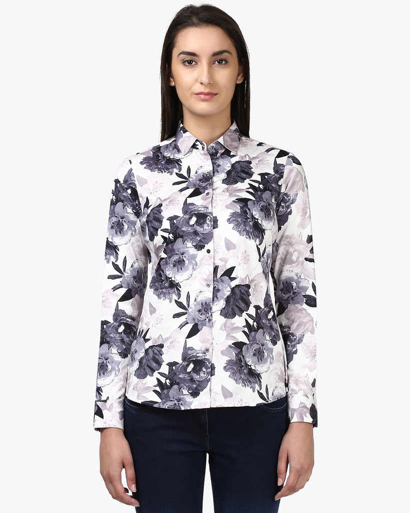 Park Avenue Woman Dark Grey Regular Fit Shirt