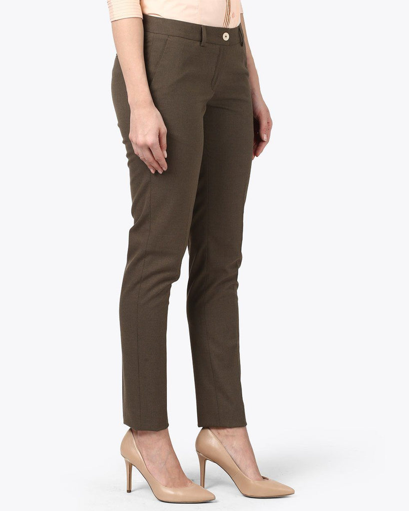 Park Avenue Woman Dark Brown Tapered Fit Trouser