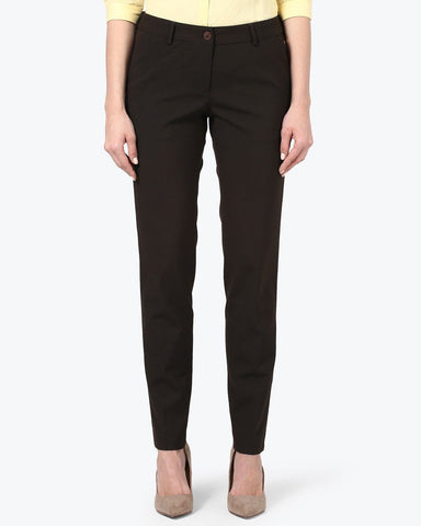 Park Avenue Woman Dark Brown Regular Fit Trouser