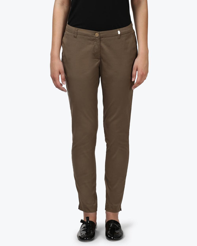 Park Avenue Woman Dark Khaki Slim Fit Trouser
