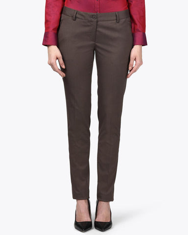 Park Avenue Woman Brown Tapered Fit Trouser