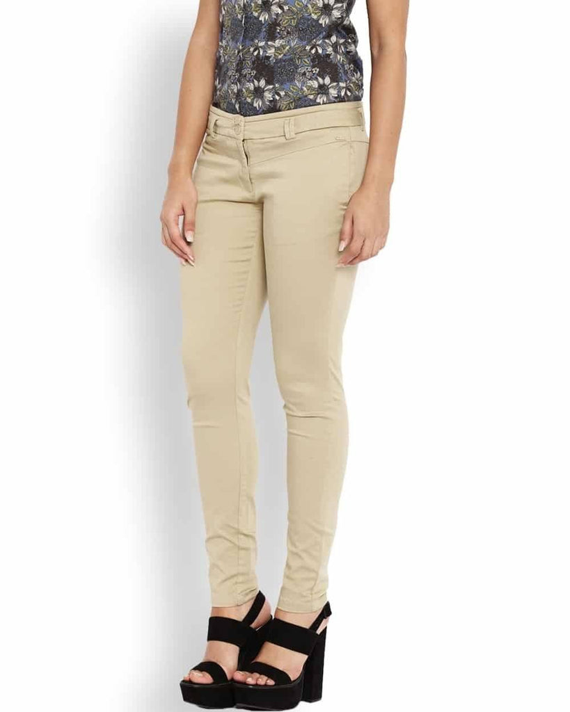 Park Avenue Woman Beige Tapered Fit Trouser