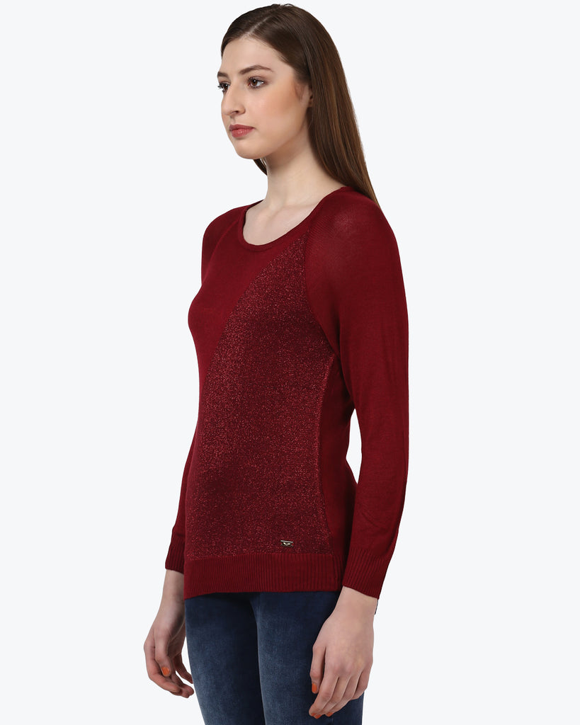 Park Avenue Woman Dark Maroon Regular Fit Sweater