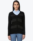 Park Avenue Woman Black Regular Fit Sweater