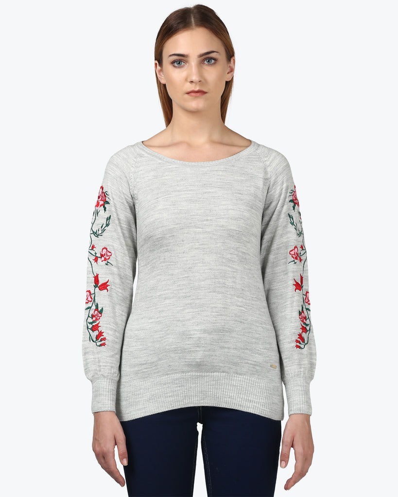 Park Avenue Woman Grey Regular Fit Sweater