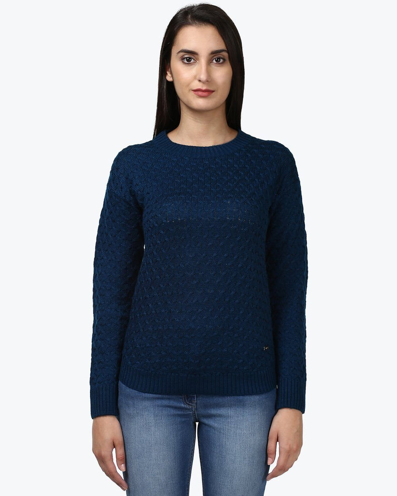 Park Avenue Woman Dark Blue Regular Fit Sweater