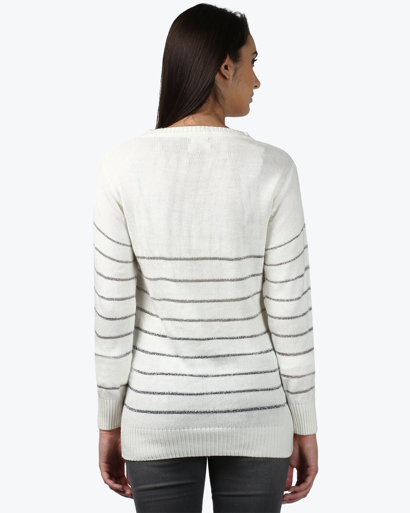 Park Avenue Woman White Regular Fit Sweater
