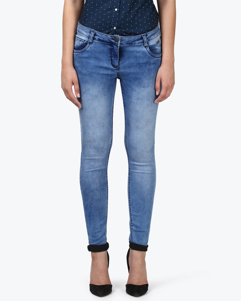 Park Avenue Woman Medium Blue Skinny Fit Jeans