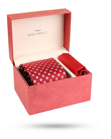 Park Avenue Red Polyester Tie & Pocket Square