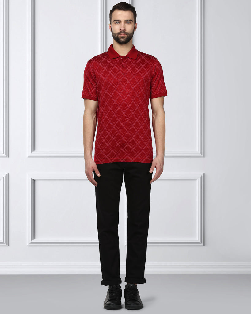 Raymond Dark Red Contemporary Fit T-Shirt