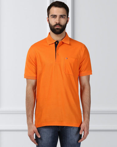 Raymond Supima Men Orange Contemporary Fit T-Shirt