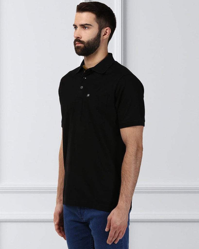 Raymond Supima Men Black Contemporary Fit T-Shirt