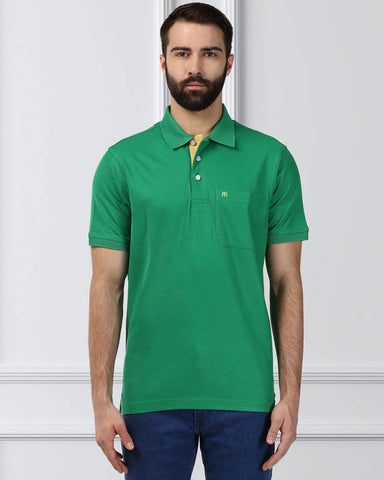 Raymond Supima Men Green Contemporary Fit T-Shirt
