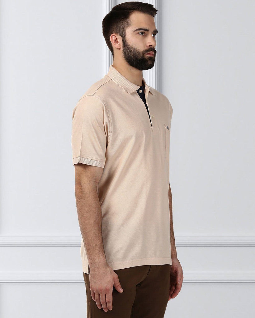 Raymond Supima Men Beige Contemporary Fit T-Shirt