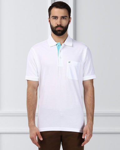 Raymond Supima Men White Contemporary Fit T-Shirt