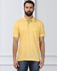 Raymond Supima Men Yellow Contemporary Fit T-Shirt