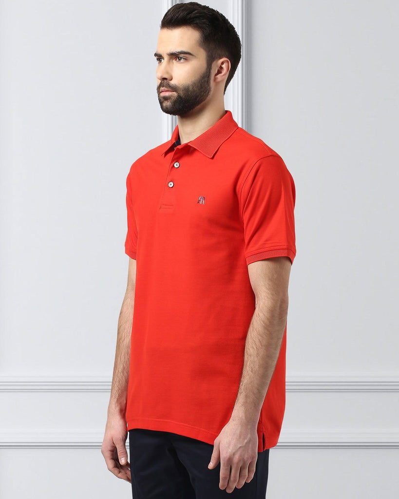 Raymond Supima Dark Red Contemporary Fit T-Shirt