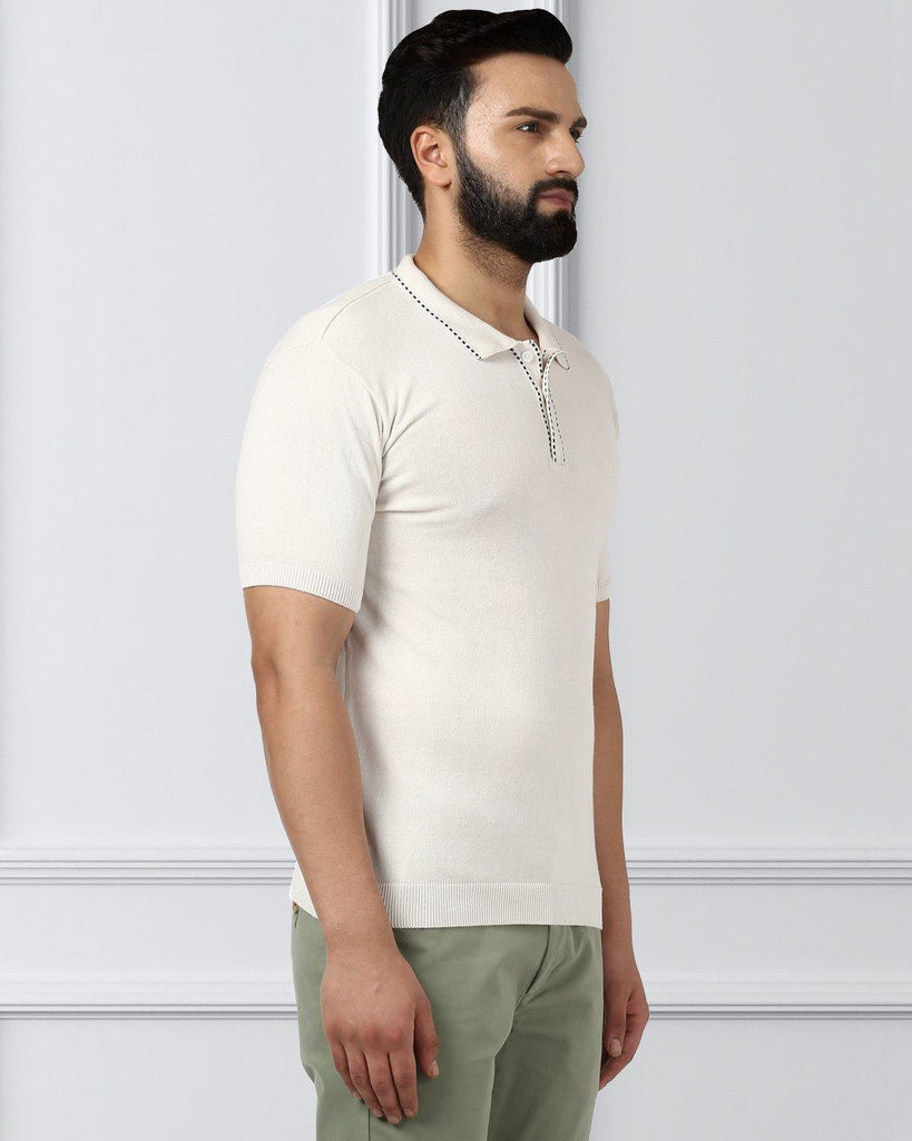 Raymond Beige Contemporary Fit T-Shirt