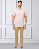 Khadi by Raymond Orange Contemporary Fit Shirt