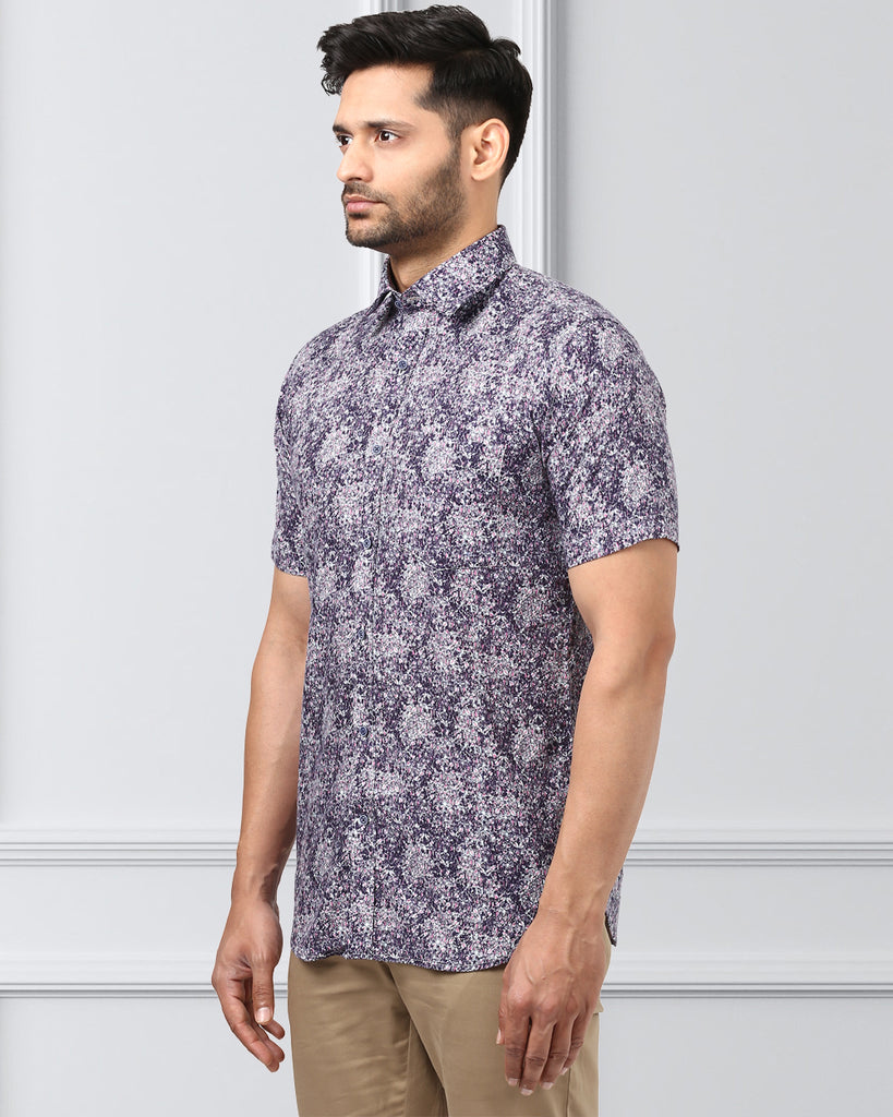 Khadi by Raymond Dark Blue Contemporary Fit Shirt