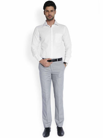 Raymond Pristine White  Stylized Self-Textured Superfine Cotton Shirt Shirt