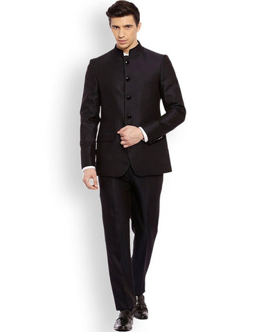 Raymond  Blue Contemporary Fit Bandhgala Suit