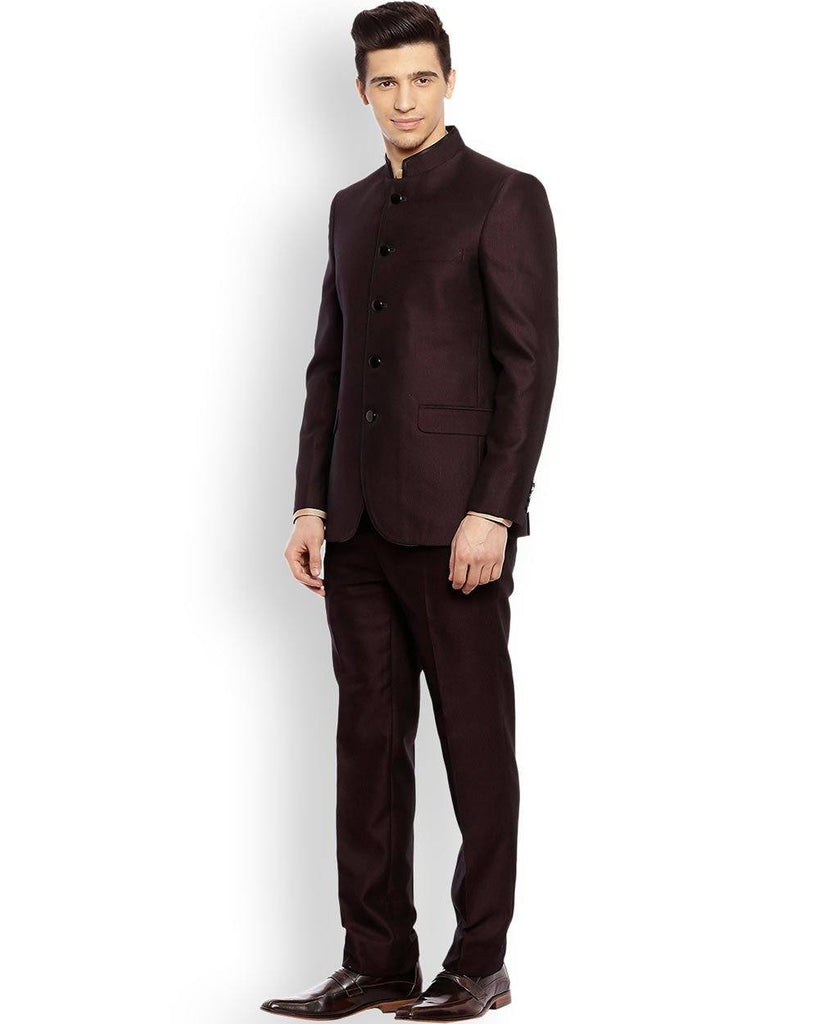 Raymond Maroon Contemporary Fit Bandhgala Suit