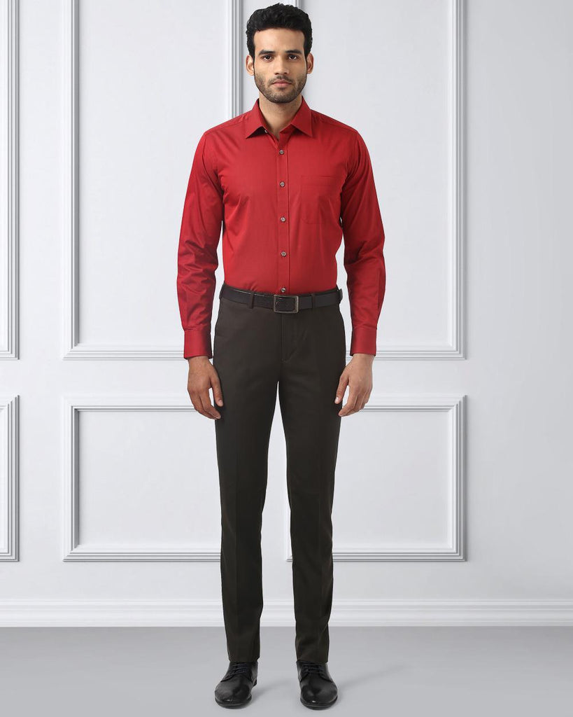 Raymond Dark Red Contemporary Fit Shirt
