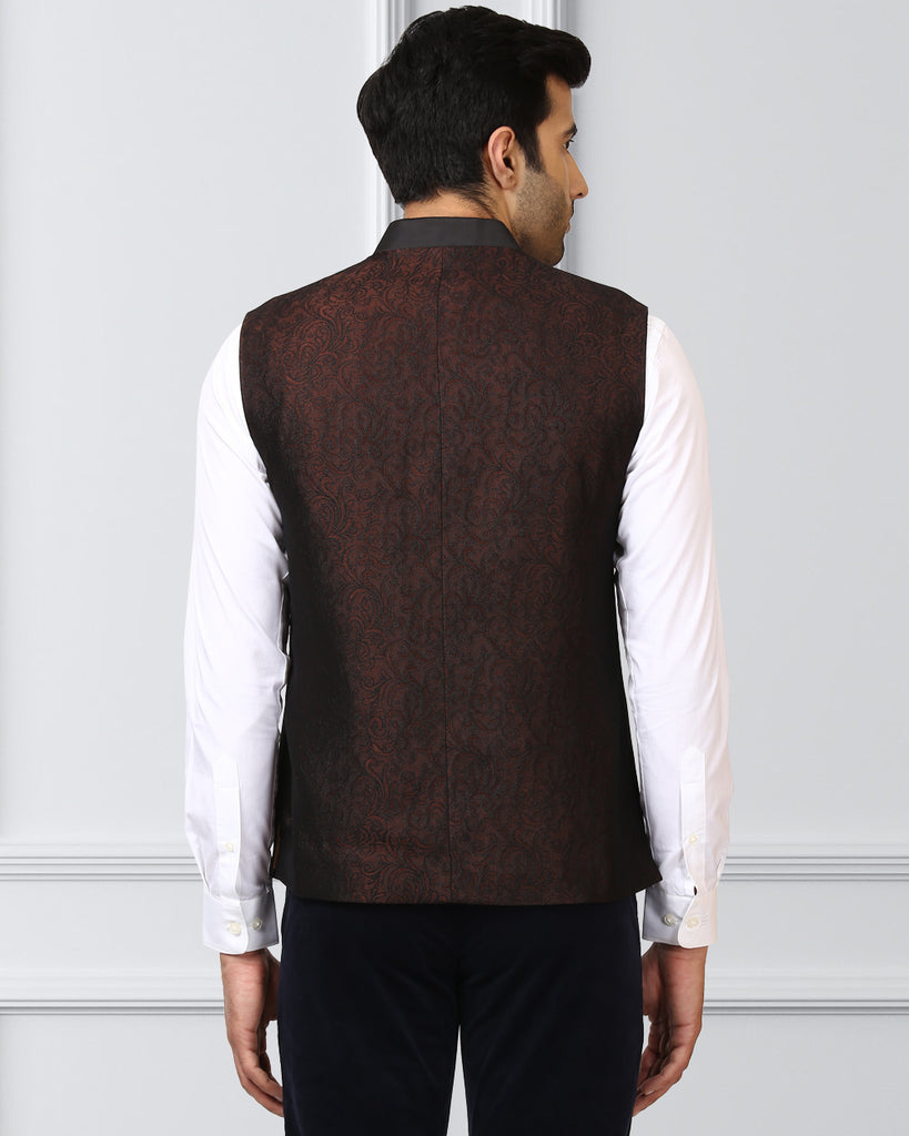 Raymond Dark Brown Contemporary Fit Waist Coat