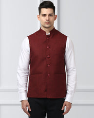 Raymond Dark Maroon Regular Fit Waist Coat