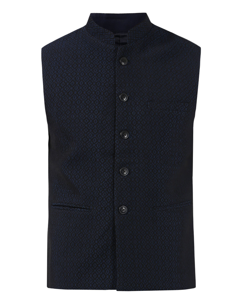 raymond Dark Blue Contemporary Fit Waist Coat